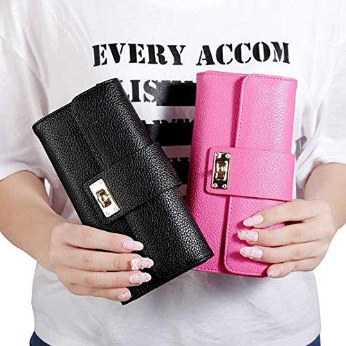 Purse Women Handbag Clutch Leather Card Long Wallet YIYI Holders Coin Bifold For Ladies ID Phone Fashion Girls Red awvq71