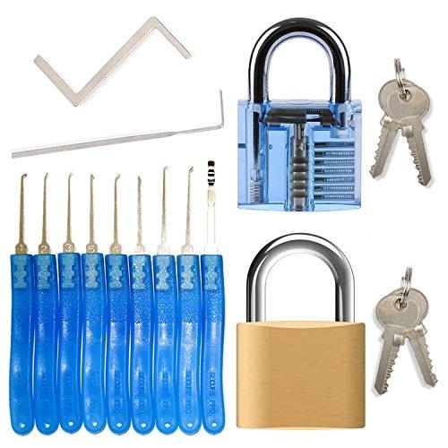 Dietrich Set für Beginner & Fachkräfte - 11 Stück lockpicking set (9 Dietriche & 2 Spanner) + 2 Vorhängeschlösser (durchsichtiges Übungsschloss + echtes Schloss)