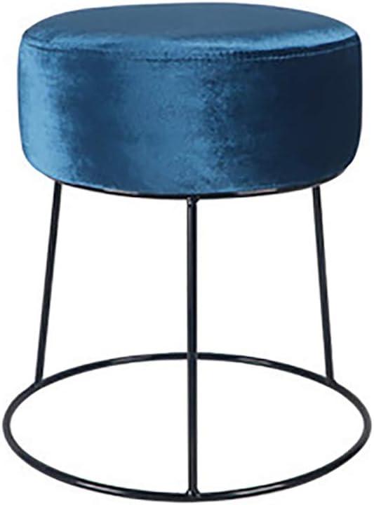 Zhaoronghua Sitzhocker Samtstoff Sitzbank Polsterhocker Schminktisch Hocker Retro Pouf Couch Hocker Metallbasis,Blau