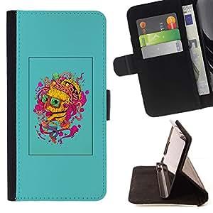Momo Phone Case / Flip Funda de Cuero Case Cover - Cerebro Pensamiento colorido Arte de la pintura del retrato - LG G4