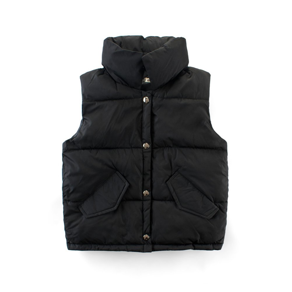 KISBINI Big Boys Stand Collar Warm Vests Autumn and Winter Coats Black 9T by KISBINI (Image #1)