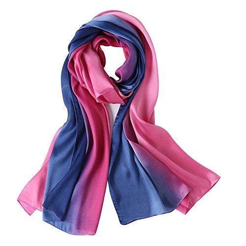 (Cyzlann Women's Scarves 100% Silk Long Lightweight Scarfs for Women (rose blue))