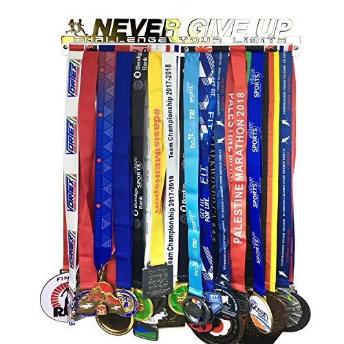 (Medal Hanger Holder Display Rack for 30 Medals Application for All Sports Stainless Steel Medal Hanger Holder, Race Medal Display Holder,Hanger for Medals,Bonus1PC Zippered Wristband Pocket Included)