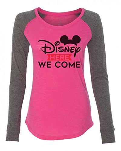 Disney Medium Punch - Funny Threadz Womens Disney Raglan Disney Here We Come Patched Elbow Long Sleeve Medium, Punch