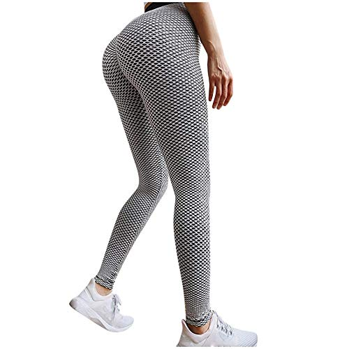 SPRAOI Women Yoga Pants-Butt Lifting Sexy Leggings Anti Cellulite High Waisted Pants Workout Tummy Control Sport Tights(Gray-3,Small)