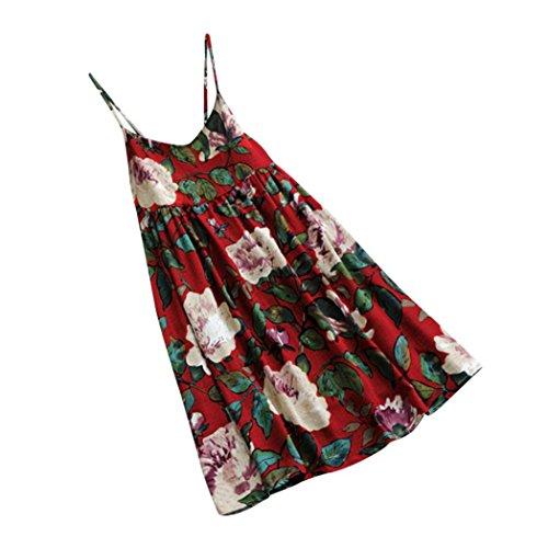 V 5xl Gilet Chic Femmes Élégant Plage Dress À Party Soirée Taille Mini De Princess Lâche S Manches Floral Imprimé Rouge Sans Col Grande Sling Adeshop Robe q8ZwnSdTT