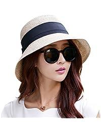 Womens UPF50 Foldable Summer Sun Beach Straw Hats...