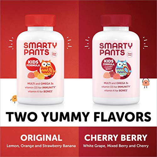 SmartyPants Kids Formula Daily Gummy Multivitamin: Vitamin C, D3, and Zinc for Immunity, Gluten Free, Omega 3 Fish Oil (DHA/EPA), , Vitamin B6, Methyl B12, 120 Count (30 Day Supply)