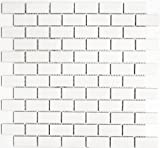 Mosaic Tile Brick Plain White Ceramic Shiny | 1 Sheet