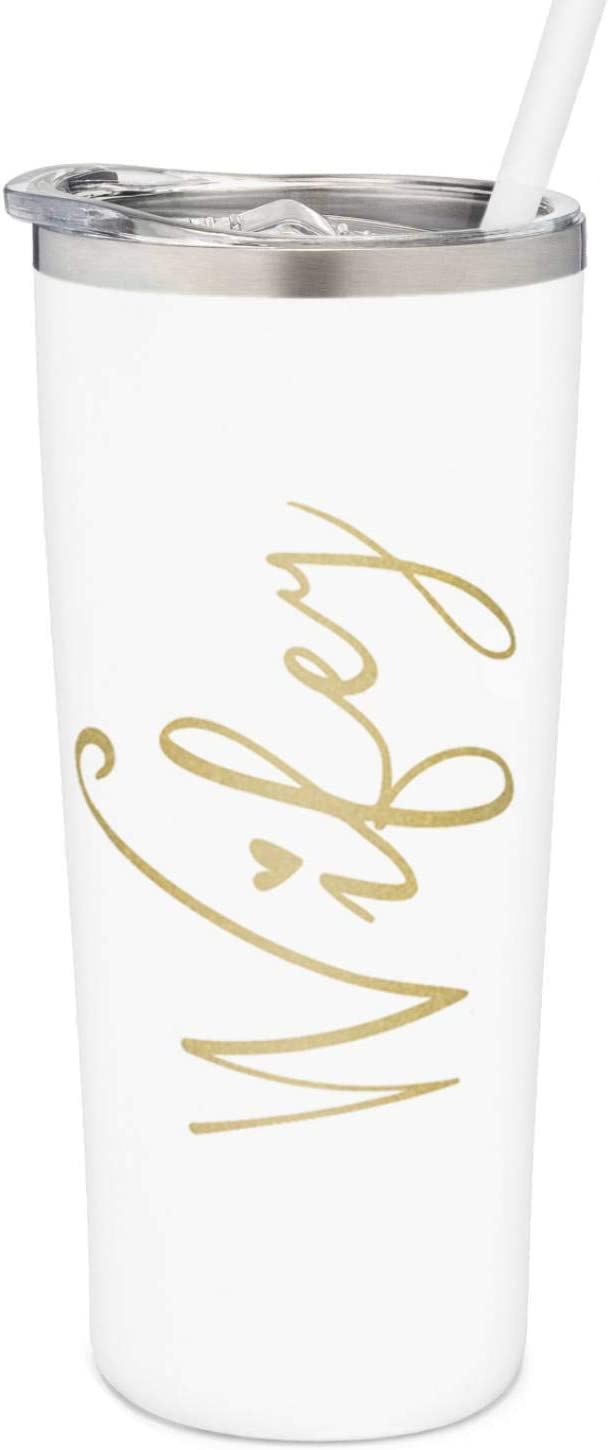 Wifey Tumbler | 22 Ounce White with Gold Foil Stainless Steel Insulated Tumbler with Lid and Straw | Bridal Shower | Bride Tumbler | Engaged | Wife Anniversary Birthday