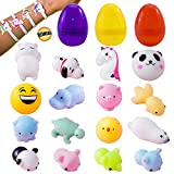 jelly at hippo - Mochi Squishy & Animal Stress Toy - New Design Squishies with 3 Filled Egg Surprise Mini Kawaii Cat Seal Panda Emoji Dog 16 Pcs Choicest Stress Relief Squishys 1 Bonus Unicorn Wristband Party Favors