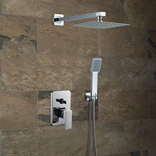 Chenway Rainfall Shower System with Hand Bar Stainless Steel Shower 8 Inch Showerhead with Handheld Combo High Pressure [Ship from USA Directly]