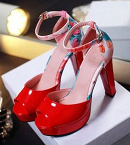 Easemax Kvinna Elegant Peep Toe Plattform Sandaler Skor Röd