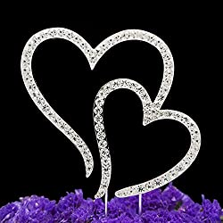 LOVENJOY Gift Box Pack Two Double Hearts Become One Love Wedding Engagement Rhinestone Crystal Decoration Cake Toppers Silver (3.5-inch)