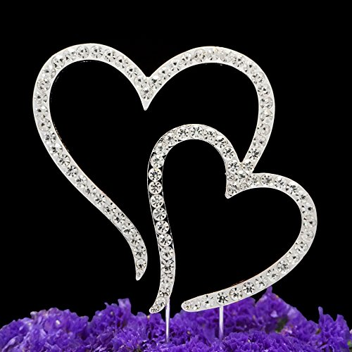 Groom Cake Top - LOVENJOY Gift Box Pack Two Double Hearts Become One Love Wedding Engagement Rhinestone Crystal Decoration Cake Toppers Silver (3.5-inch)