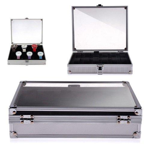 Uhrenbox für 12 Uhren Uhrenschatulle Uhrenkasten Uhrenkoffer aluminum