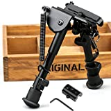 """X-Aegis 2 in 1 Rifle Bipod 6"""" to 9"""" Spring Return Sniper Hunting Rifle Bipod Sling Swivel Mount, Adjustable Height, Rail Mount Adapter Included"""