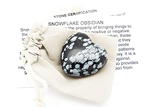 Fundamental Rockhound Products: 30mm Snowflake Obsidian Pocket Heart gemstone crystal with carrying pouch, info card, stone certification, tumbled stone