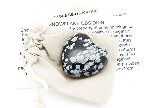 Snow Pit Card - Fundamental Rockhound Products: 30mm Snowflake Obsidian Pocket Heart gemstone crystal with carrying pouch, info card, stone certification, tumbled stone