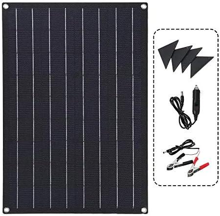 Madeinely Solarmodul Solarpanel wasserdichte Auto-Notfall-Ladegerät 30W Solar Panel mit 4 Schutz Corners Doppel USB + DC für Wohnmobile, Boote, Home Off Grid System (Color : Black, Size : 30W)
