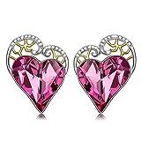 QIANSE Love Happens Heart Earrings for Women Stud Earrings for Girls Hypoallergenic Earrings Anniversary Gifts for Her