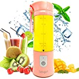 Portable Smoothie/Juicer Blender Cup,Personal Small 14.2oz 4000 mAh USB Blender/for Travel,Office,Gym,Pink