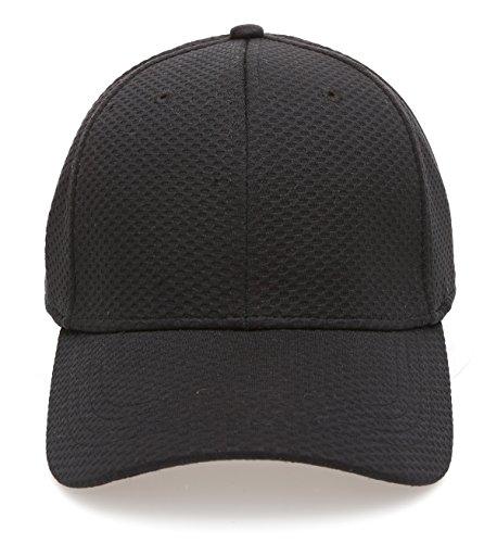 Plain Polyester Twill Baseball Cap Hat with Flex fit Elastic ()