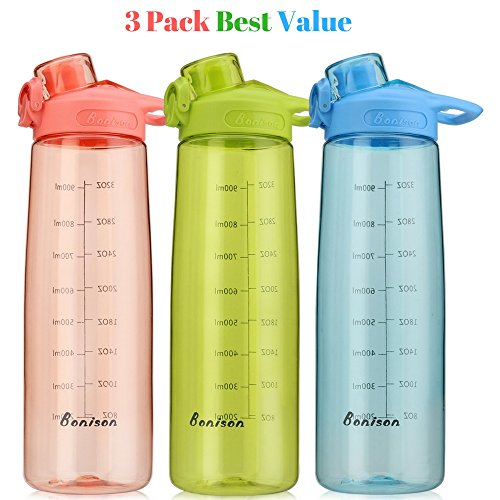 Bonison Wide Mouth Sports Water Bottle Flip Top Lid with Handle, Leak Proof, Bpa Free, Various Capacity. Perfect for Travel Yoga Running Outdoor Cycling Hiking Or Camping (3 Pack 34 oz) (Tri Bag Sport Color)
