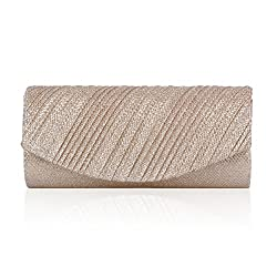 Damara Women Glitter PU Pleated Flap Party Cross-body Bag,Gold