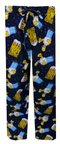 Simpsons Lounge Pants - Homer Simpson Beer Drinking Lounge Pants for men (Small)