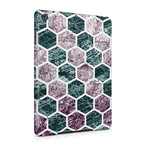 Rough Amethyst & Emerald Marble Stone Hexagons Pattern Ha...