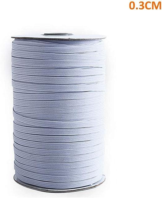elástica blanca, 100 yardas 3/5/ 10mm Costura elástica blanca ...