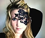 Black Lace Masquerade Mask (adheres to skin & reusable!) by LacedAndWaisted (comes with liquid adhesive) no stick or strap needed! (strapless)
