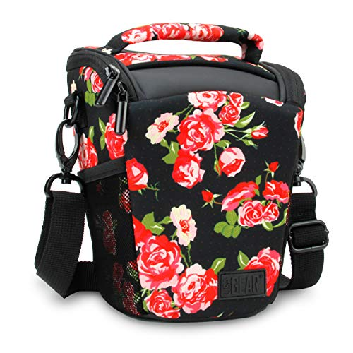 USA Gear SLR Camera Case Bag (Floral) with Top Loading Accessibility, Adjustable Shoulder Sling, Padded Handle, Removable Rain Cover and Weather Resistant Bottom
