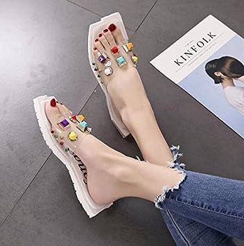 Langmotai Sandalen Crystal Schuhe Frauen Hausschuhe Hausschuhe 4 6
