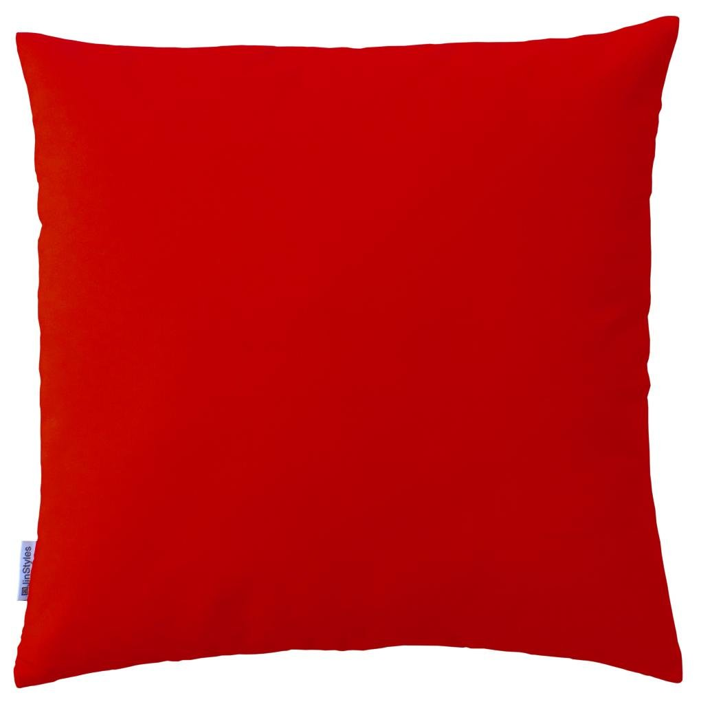JinStyles Soft & Thick Cotton Canvas Accent Decorative Throw Pillow (Solid Christmas Red, Square, 1 Cushion Sham for 18 x 18 Inches Inserts)