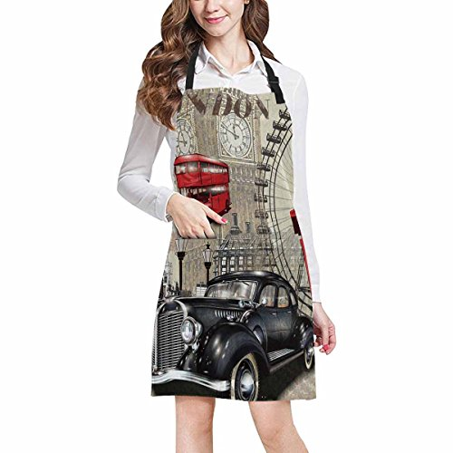 InterestPrint Vintage London Big Ben Car and Red Telephone Booth All Over Print Adjustable Bib Apron with Pockets - Commercial Restaurant and Home Kitchen Apron for Women Men, Plus Size