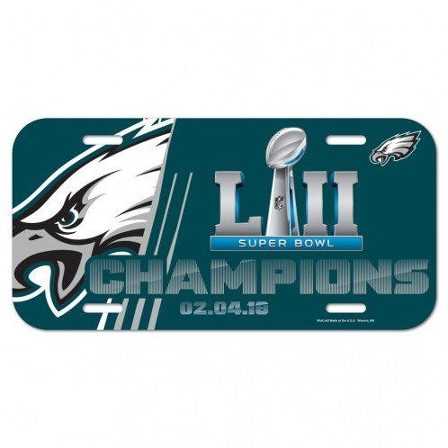 WinCraft NFL Philadelphia Eagles Super Bowl LII Champions Plastic License Plate