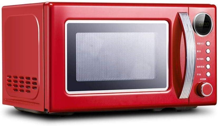 Estilo retro encimera horno de microondas -Memoria de la placa giratoria, encimera horno de microondas con el sonido de encendido/apagado (Color: Rojo) (Color : Red)
