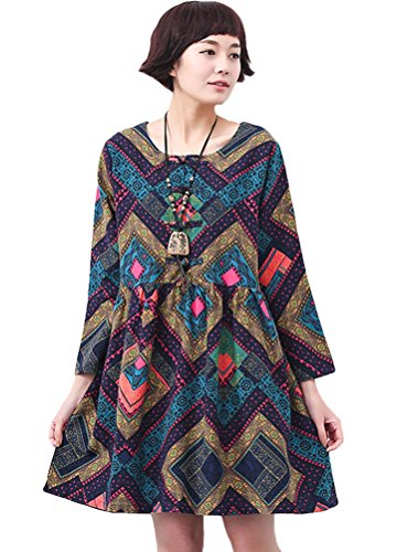 MatchLife - Vestido - vestido - Manga Larga - para mujer Grid