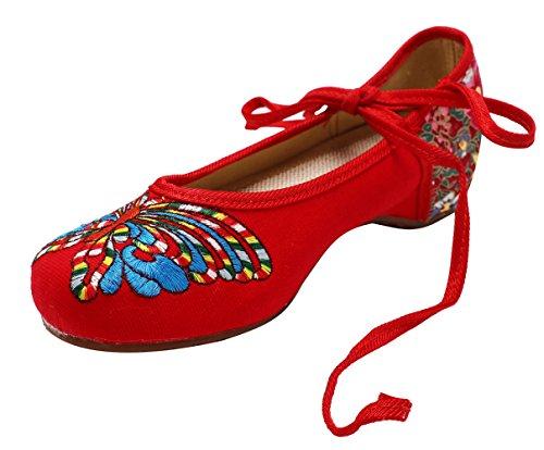 Icegrey Zapatos Hechos A Mano Ata Para Arriba El Abrigo Del Tobillo Planos De Las Mujeres Rojo