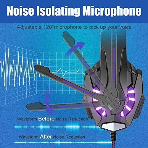 BENGOO G9000 Stereo Gaming Headset for PS4, PC, Xbox One Controller, Noise Cancelling Over Ear Headphones with Mic, LED Light, Bass Surround, Soft Memory Earmuffs (Purple) 5146gkosL1L