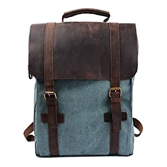 Back-to-School Sale- S-ZONE Retro Canvas Leather School Travel Backpack Rucksack 15.6-inch Laptop Bag