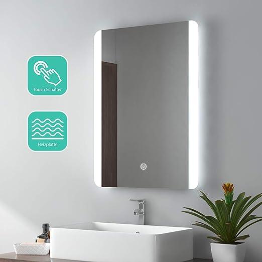 EMKE Espejo de Ba/ño Espejo de ba/ño Espejo LED Espejo de Pared con Interruptor T/áctil+Antivaho,IP44,47W,Blanco Fr/ío 80x60cm