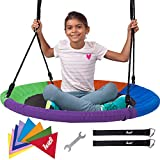 40'' Round Outdoor Tree Swing for Kids - Large Saucer Swings for Children with Hanging Kit - 400 lbs Giant Disk UFO Swingset for Backyard and Home Playground