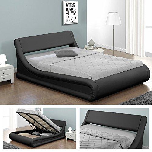 KANSAS Doppelbett Polsterbett mit Gasdruckfeder Bettkasten Bett Lattenrost Kunstleder (140 x 200cm, Schwarz)