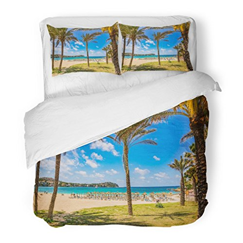 SanChic Duvet Cover Set Beautiful Beach Scenery Tropical Palms in Santa Ponsa Spain Majorca Balearic Islands Decorative Bedding Set Pillow Sham Twin Size by SanChic