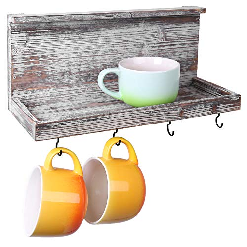 MyGift 15-Inch Torched Wood Wall Mounted Floating Shelf with 4 Hooks