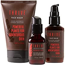 Thrive Own The Day Men's Grooming Kit - 3 Piece Grooming Gift Set to Wash, Shave, and Moisturize Daily; Gift for Men Made with Organic & Unique Premium Natural Ingredients for Healthier Skin Care
