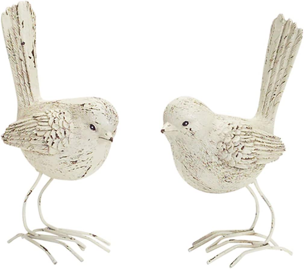 The Bridge Collection Faux Whitewashed Wood Carved Bird Figurines, Set of 2